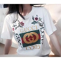 GUCCI Women Loose Embroidery Roses Letter Print T-Shirt Top Tee