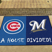 """MLB - Chicago Cubs - MLB - Milwaukee Brewers House Divided Rugs 33.75""""""""x42.5"""""""""""