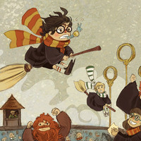 Harry Catches the Snitch illustration print by theGorgonist