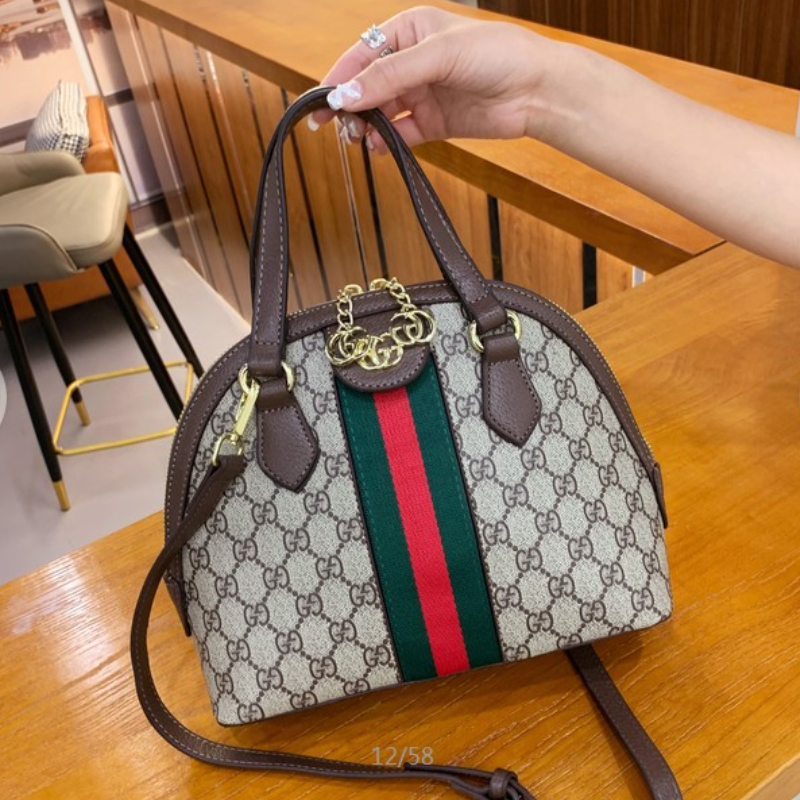 Image of GUCCI Ophidia leather-trimmed printed coated-canvas shoulder bag