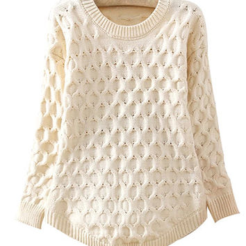 Beige Cable Knitted Sweater