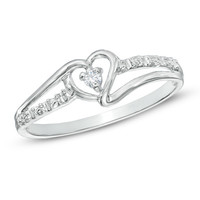 Heart-Shaped Diamond Accent Ring in 10K White Gold - View All Jewelry - Gordon's Jewelers