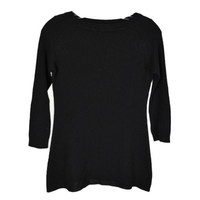 PRADA Black Wool Boat Neck Ribbed Knit 3/4 Sleeve Sweater IT 42 US 6