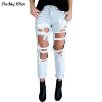 Ripped boyfriend high waist jeans for women torn Cool denim vintage straight pockets hole bleached washed push up jeans femme