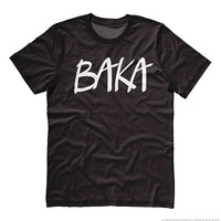 Baka Anime T-shirt (text) - cool japanese shirt otaku anime clothing cosplay funny insult tee japan cool anime shirt - unisex fit