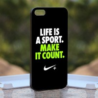 Nike Quotes Life, Print on Hard Cover iPhone 4/4S Black Case