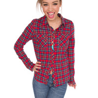 Mya Plaid Top