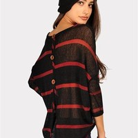 Wiley Button Back Sweater - Black/Burgundy at Necessary Clothing