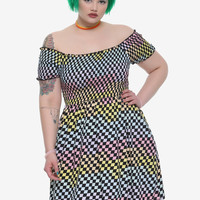Rainbow Checkered Off-The-Shoulder Smocked Dress Plus Size