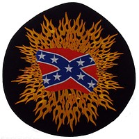 Rebel Confederate Flag Patch Flames Round Embroidered Rider Jacket Vest Motorcycle