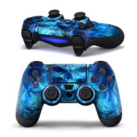 Gasky PVC Sticker Blue Skull Pattern Case Protector Decal for Sony PS4 Playstation 4 Controller Game Accessories For Halloween