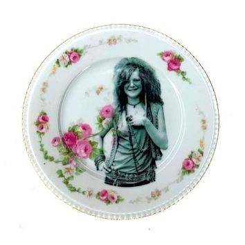 Antique Altered Plate Janis Joplin