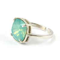 Mint green ring, Pacific Opal ring, sterling silver, adjustable ring size 4-9, 10 mm cushion cut Swarovski crystal, Valentine's gift for her