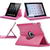 SANOXY 360 Degree Rotating iPad 2 3 4 Case Convertible Cover Multi-angle Vertical and Horizontal Stand with Smart On/Off for the Apple iPad 2/3/4 (PINK)