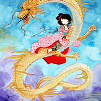 11x17 Dragon and Girl - Fine Art color archival print - Delicate Pencil and Ink Drawing