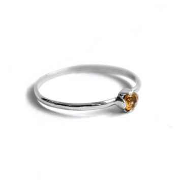 Petite Citrine Solitaire Sterling Silver Ring