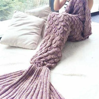 Hot Deal Birthday Gifts Knit Mermaid Sofa Blanket [9594668879]