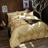 2016NEW Luxury Tribute Silk satin Jacquard Bedclothes  Bedding set Wedding Noble Palace Bed set Cotton bed linen