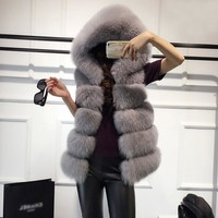 Sleeveless Faux Fox Fur Vest Winter Jacket