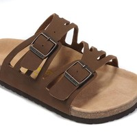 2017 Birkenstock Hot Summer Fashion Leather Cork Flats Beach Lovers Slippers Casual Sandals For Women Men Couples Slippers color brown size 36-45