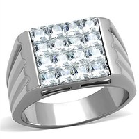 Mens Fashion Rings TK1803 Stainless Steel Ring with AAA Grade CZ