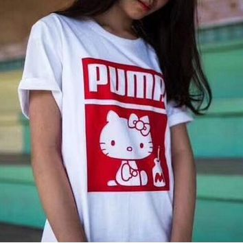 PUMA x Hello Kitty Popular Women Personality Short Sleeve T-Shirt I