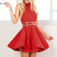 ‰ªÁ Red Party Halter Neck Off Shoulder Sleeveless  ‰ªÁ