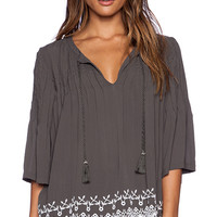 Tularosa Huxley Embroidered Blouse in Olive
