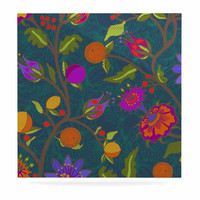 """Laura Nicholson """"Flora Exotica"""" Teal Floral Luxe Square Panel"""