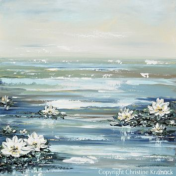 """CUSTOM for LYNNETTE ORIGINAL Art Abstract Water Lily Painting Textured Coastal Lotus Flowers Diptych 2 - 36x36"""""""