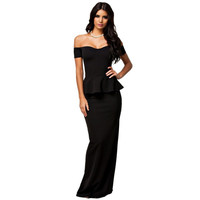 New women dress 3 colors Sexy Peplum Maxi Dress With Drop shoulder Long Dress LC6244 plus size M L XL XXL