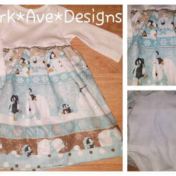 Baby girl Christmas Holiday Onsie dress 0-3 months polar bears penguins and seals