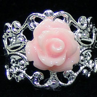 Set of 3 Bridesmaid Rings Pink Rose and Silver Filigree Adjustable Vintage Style
