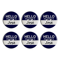 Jose Hello My Name Is Plastic Resin Button Set of 6