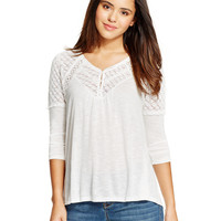American Rag Lace-Yoke Three-Quarter Sleeve Top, Only at Macy's
