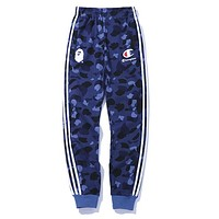 BAPE AAPE X Champion Autumn Winter Popular Women Men Casual Print Blue Camouflage Sport Pants Trousers Sweatpants