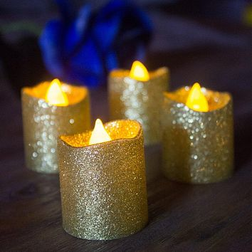 Gold Flameless Votive Candles,Battery Operated LED Tea Lights Candles With Gold Glitter for Party,Wedding,Christmas,Festival Decoration (Pack of 12)