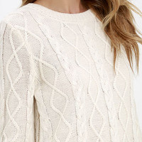 Log Cabin Cream Cable Knit Sweater