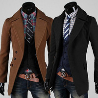 Fashion Men Slim Fit Wool Coat