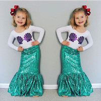 2016 Autumn2 Pieces Set Tshirt And Mermaid Tail Kid Halloween Costume Super Cute Shell Print Flora Striped Baby Girl Cos002