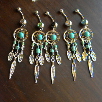 Dream Catcher Belly Ring with Turquoise in The Native Inspired Tribal Boho Hippi Belly Dancer Hipster Style