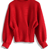 Embossed Red Top with Puff Sleeves Red S/M