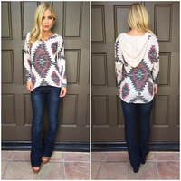 Marlin Aztec Knit Hoodie Sweater Top