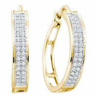 10kt Yellow Gold Women's Round Diamond Hoop Earrings 1-5 Cttw - FREE Shipping (US/CAN)