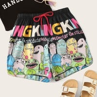 Cartoon And Letter Print Drawstring Waist Shorts