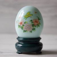 Vintage Avon Glass Blue Egg Perfume Bottle with Stand | Patchwork Cologne | Butterfly and Flowers | Avon Collectable | Easter Decorations