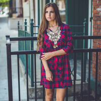 Boone Dress in Red and Navy