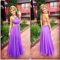 Elegant Purple Backless Prom Dresses