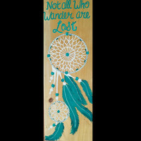 Dream Catcher Painting, Dream Art, Wood signs, Hand painted decor, Dream Catcher Room Decor, Valentine's Day Gift, Turquoise Dream Catcher