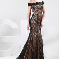 Black Lace Cap Sleeves Mermaid Evening Dress
